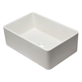 Alfi Brand White Fireclay 30-inch Reversible Single Farmhouse Kitchen Sink