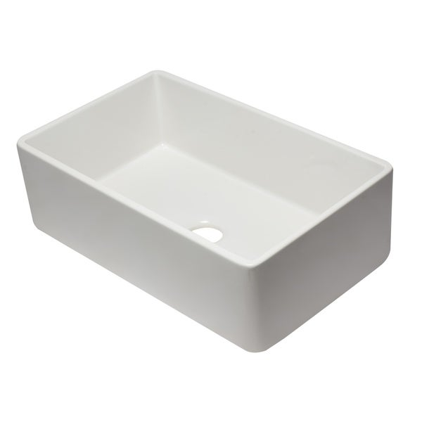 Alfi Brand AB3320SB W White Fireclay 33 Inch Reversible Single Farmhouse  Kitchen Sink