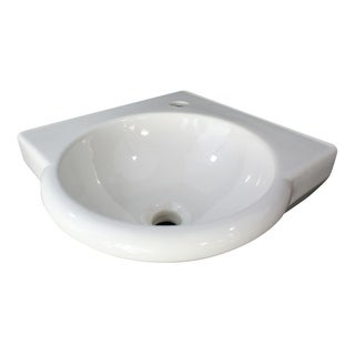 "ALFI brand AB104 White 15"" Round Corner Wall Mounted Porcelain Bathroom Sink"