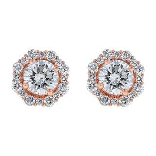 14k Rose Gold 2ct TDW Diamond Halo Stud Earrings - White