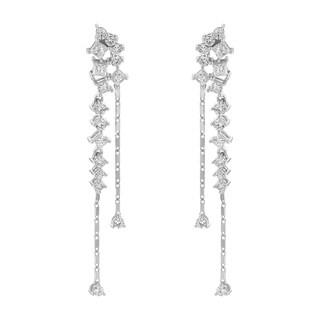 14k White Gold 1 1/4ct TDW Diamond and Chain Dangle Earring