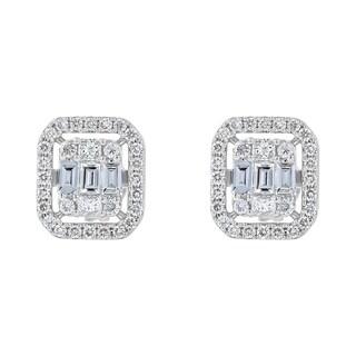 14k White Gold 1/2ct TDW Diamond composite Stud Earrings