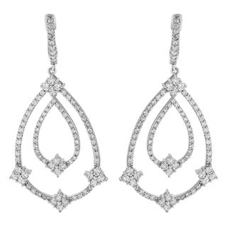 14k White Gold 3ct TDW Diamond Station Dangle Earrings
