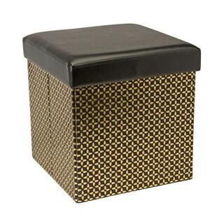 Kennedy Single Folding Black Metallic Storage Cube/Ottoman