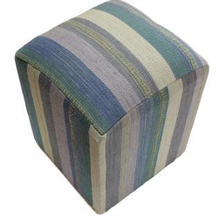 "Arshs Arya Efren Blue/Green Kilim Upholstered Handmade Ottoman (20""x15""x15"")"