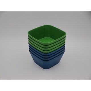 EcoSouLife Bamboo - Square Bowl 4PC 20 Oz, Green