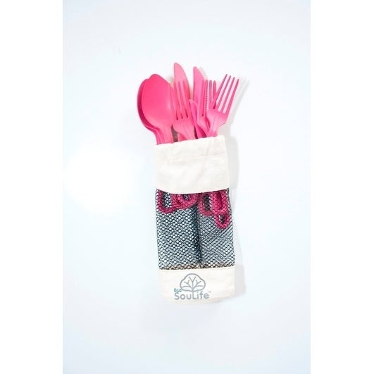 EcoSouLife Bamboo - Cutlery Cluster 12PC, Pink