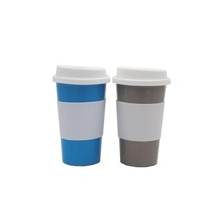 EcoSouLife PLAnet - Travel Cup 18 Oz 2-Pack, Blue/Silver