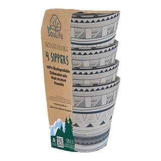 EcoSouLife Bamboo - Sipper Cup Set 8.4 Oz., Tribal Bliss - 4 CT