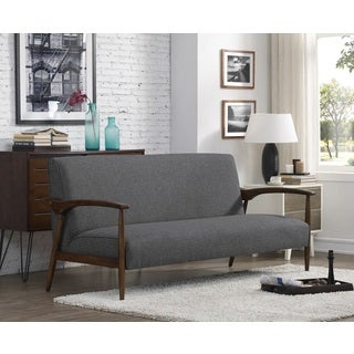 Gracie Retro Granite Grey Fabric Sofa with Brown Wood Frame
