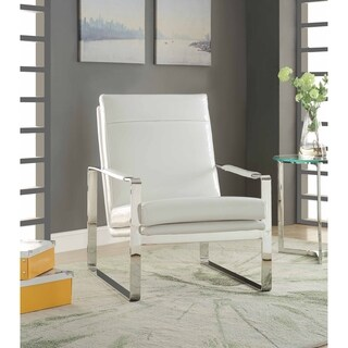 ACME Ronnie Accent Chair in White Faux Leather and Stainless Steel
