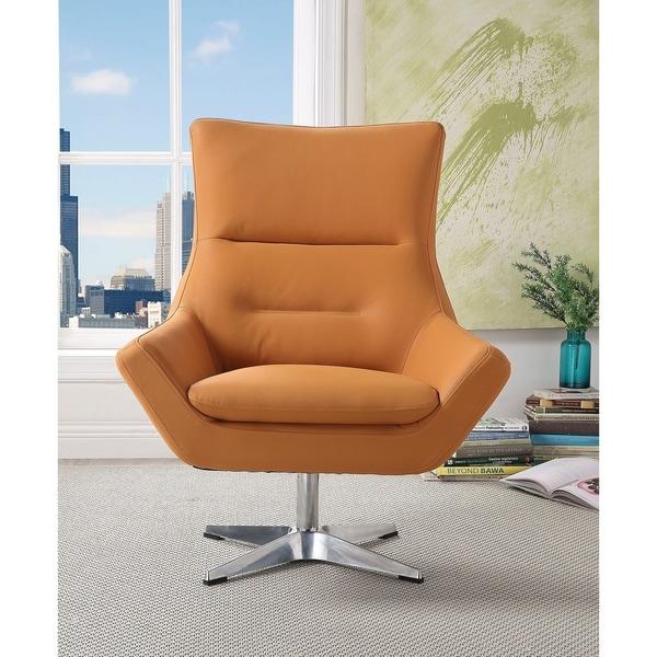 Shop Acme Eudora Accent Chair In Orange Leather Gel Free