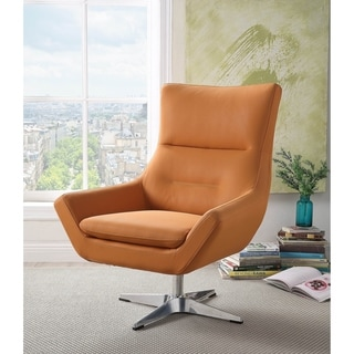ACME Eudora Accent Chair in Orange Leather Gel