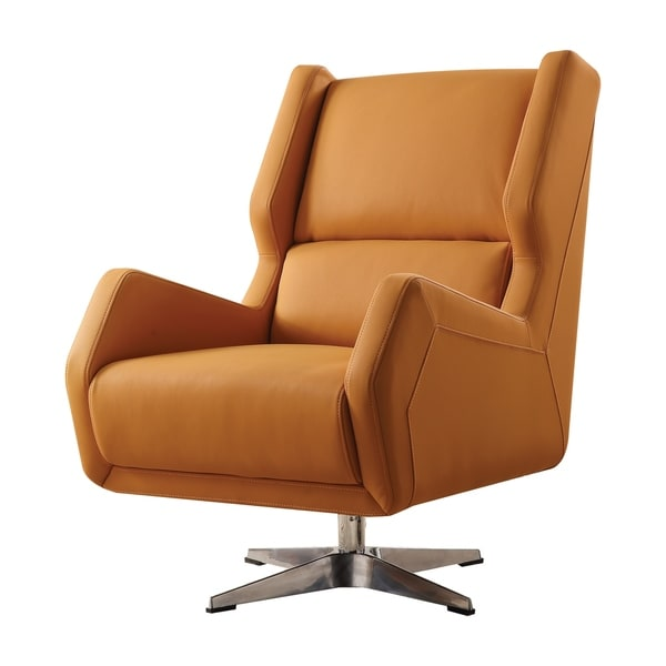 Acme Eleanor Accent Chair In Orange Leather Gel