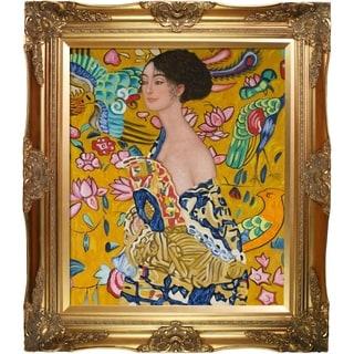 Gustav Klimt 'Signora con Ventaglio Interpretation' Hand Painted Oil Reproduction