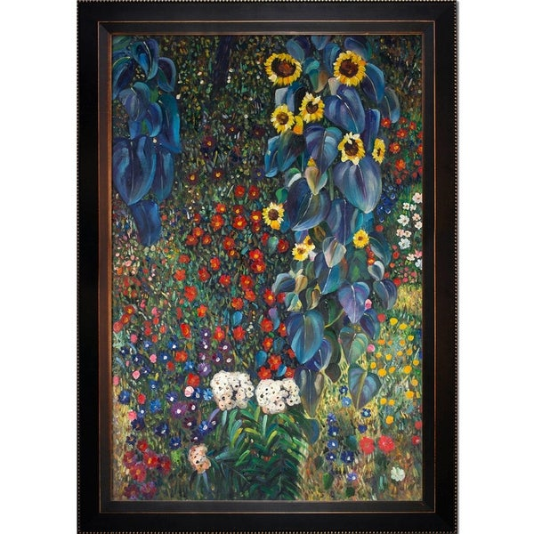 Gustav Klimt 'Farm Garden with Sunflowers' Hand Painted Oil Reproduction
