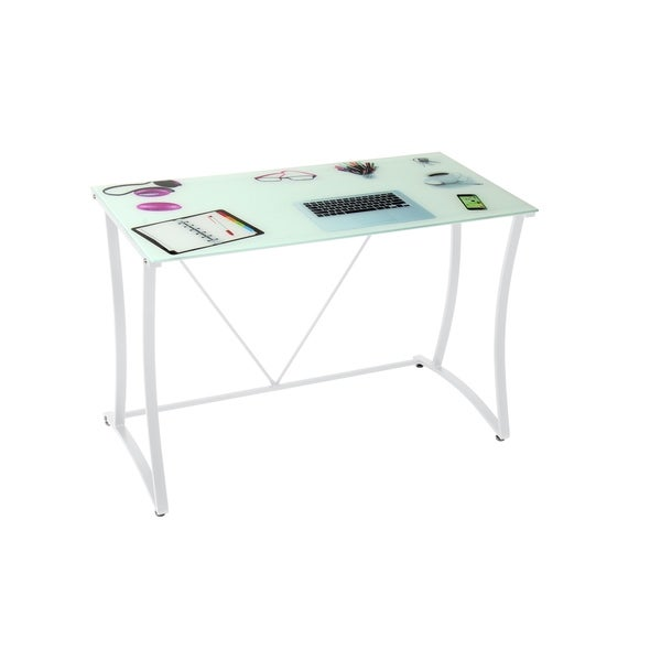 Best Master Furniture Off White Metal Writing Desk With Glass Top