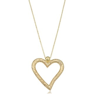 Fremada 14k Yellow Gold Textured Heart Necklace (adjusts to 17 or 18 inches)