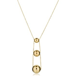 Fremada 14k Yellow Gold Graduated Ball Necklace (adjusts from 17 to 18 inches)