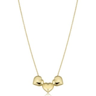 Fremada 14k Yellow Gold Puffed Heart Necklace (adjusts to 17 or 18 inches)