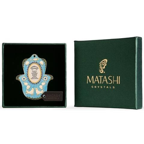 Matashi Judaica Hamsa Shaped Home Blessing Hanging Wall Ornament w/ Matashi Crystals - Choose English or Hebrew