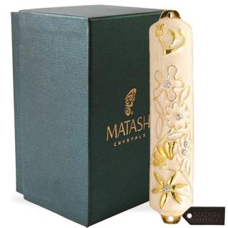 Hand Painted White Enamel Mezuzah Embellished with a Floral Design with Gold Accents and High Quality Crystals by Matashi