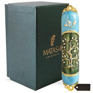 Hand Painted Enamel Mezuzah Embellished with a Tree of Life Design with Gold Accents and High Quality Crystals by Matashi