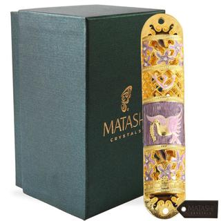 Hand Painted Enamel Mezuzah Embellished with a Floral Design with Gold Accents and High Quality Crystals by Matashi