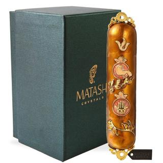 Hand Painted Enamel Mezuzah Embellished with a Dove and Hamsa Design with Gold Accents and High Quality Crystals by Matashi