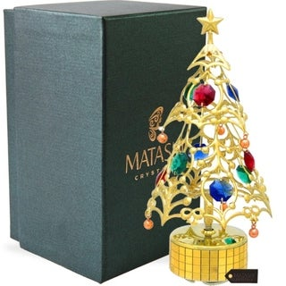 Gold Plated Christmas Tree Wind-Up Music Box Table Top Ornament With Matashi Crystals - Deck the Halls