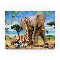 Howard Robinson 'Elephants And Giraffes' Canvas Art