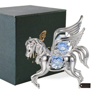 Silver Plated Pegasus Ornament with Blue Crystals by Matashi