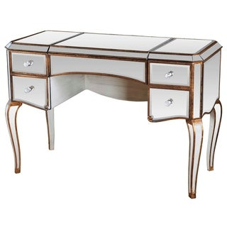 Best Master Furniture Mirrored with Gold Jewelry Desk