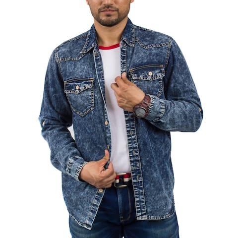Rocawears Men's Long Sleeve Denim Shirt