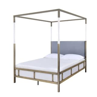 ACME Raegan Queen Bed in Acrylic Antique Brass and Gray Velvet  sc 1 st  Overstock.com & Queen Size Canopy Bed For Less | Overstock.com