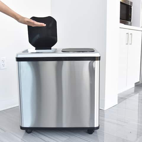 Halo 16 Gallon Dual-Compartment Stainless Steel Sensor Recycle Bin/Trash Can