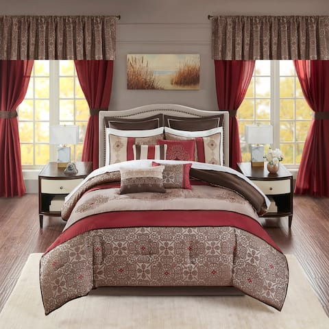Madison Park Essentials Parker Red Jacquard Embroidered Pieced 24 Piece Room in a Bag