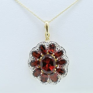 14k Flower Oval Garnet & Round Diamonds Pendant - Red