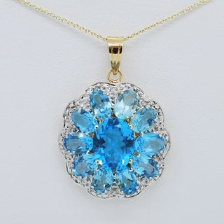 Kabella Flower Pendant Necklace w/ Oval Blue Topaz & Round Diamonds in 14k Yellow Gold
