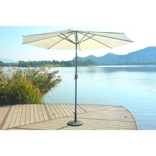 Patio 9.8-foot Market Umbrella with Steel Tilt W/ Crank and Base