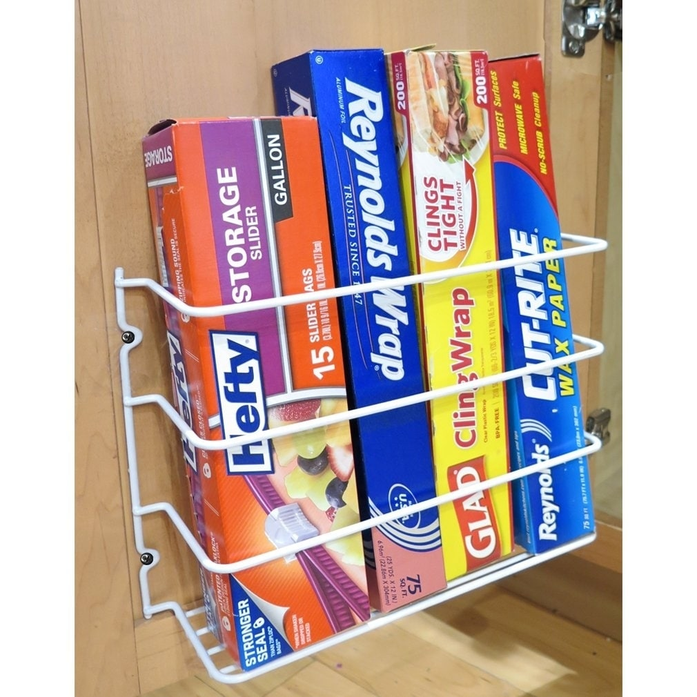 Evelots Wall Door Mount Kitchen Wrap Organizer Rack