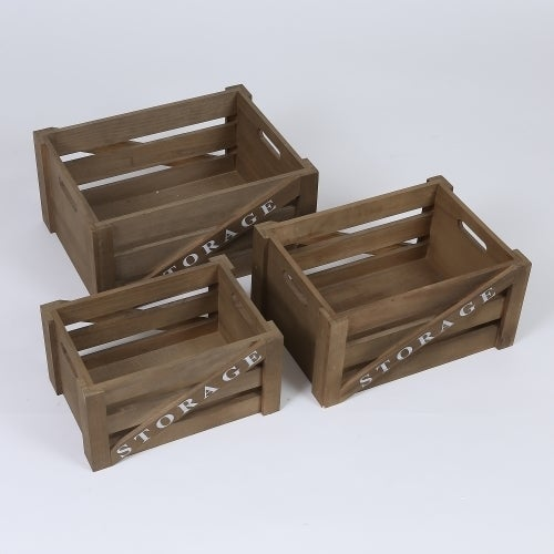 Set of 3 Storage Wood Crates