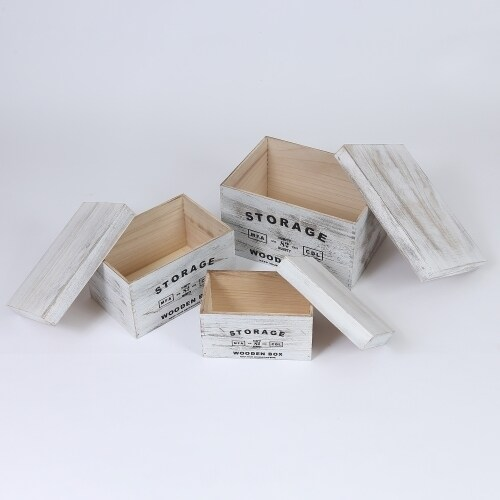 Set of 3 Storage Wood Boxes w/ Lids