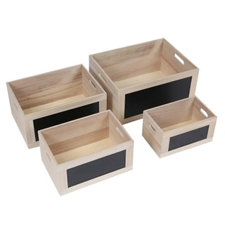 Set of 4 Chalkboard Wood Crates w/ Cut-out Handles