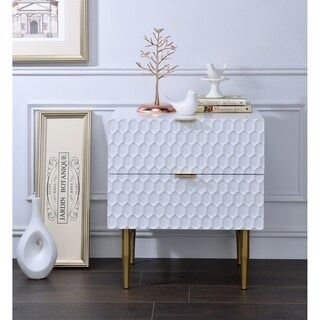 Acme Maisey White Goldtone Metal Nightstand