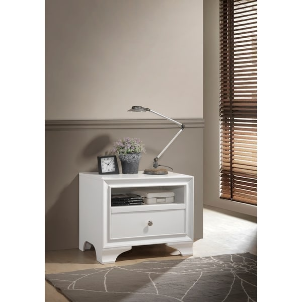 ACME Blaise Nightstand in White with 1 Drawer and USB Port