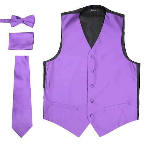Ferrecci Mens 4 Piece Formal Solid Pattern Vest Set