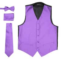 Ferrecci Mens 4 Piece Formal Solid Pattern Vest Set