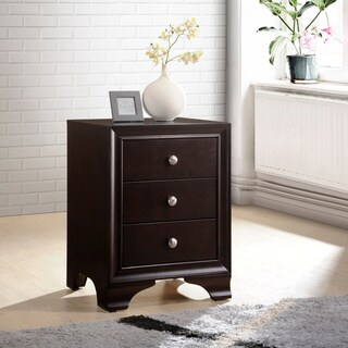 ACME Blaise Nightstand in Espresso with 3 Drawers and USB Port