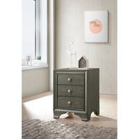 ACME Blaise Nightstand in Gray Oak with 3 Drawers and USB Port